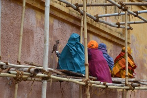 Women working on construction