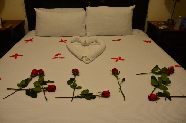 roses on bed